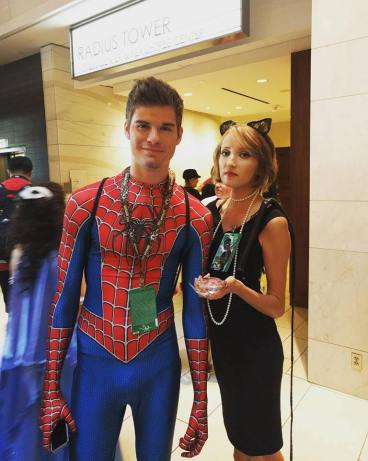 Stephanie Schrenk as Catwoman with an Andrew Garfield lookalike.